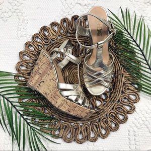 Brash Gold Cork Wedge Sandals